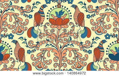 Floral pattern with fairy birds and chicks on a flowering tree. Seamless pattern
