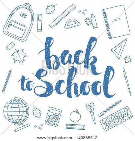Set of different items for education. Back to school lettering linear icons. Vector stock illustration.