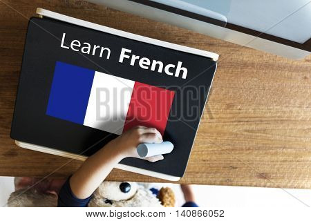 Learn French Language Online Education Concept