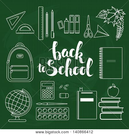 Set of different items for education. Back to school linear icons. Vector stock illustration.
