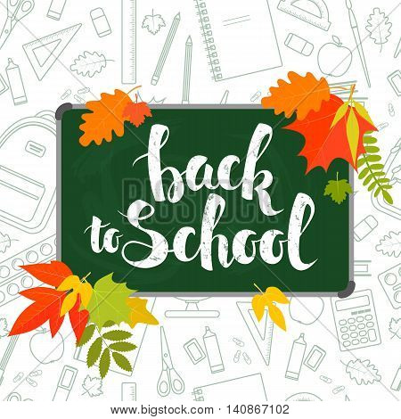 Back to school handwritten lettering on green blackboard and seamless pattern. Vector stock illustration.