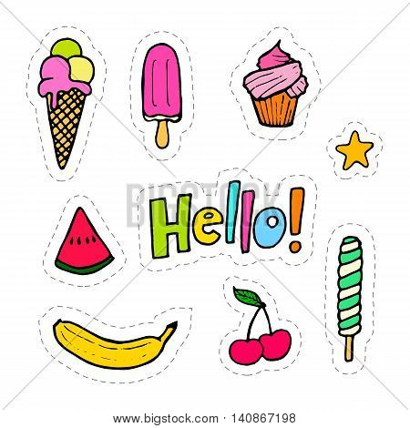 Set of hand drawing patches with food - ice creams fruits cupcake. Vector stock illustration.