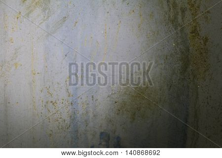 Concrete walls with water stains and dirt on the walls.