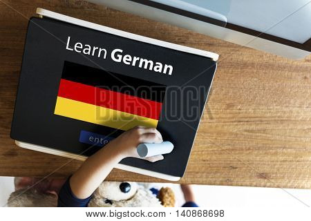 Learn German Language Online Education Concept
