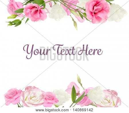 Vintage floral card. Beautiful eustoma flowers