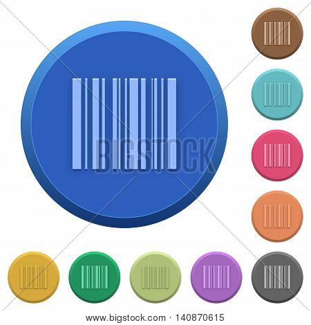 Set of round color embossed barcode buttons
