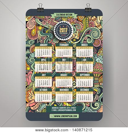 Cartoon colorful hand drawn doodles Hippie 2017 year calendar template. English, Sunday start. Very detailed, with lots of objects illustration. Funny vector artwork