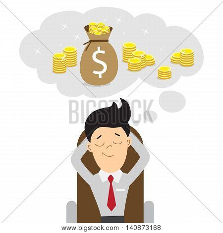 Happy businessman dreams of money. Dreaming of being rich, pension or money for holiday. Money bag with coins.