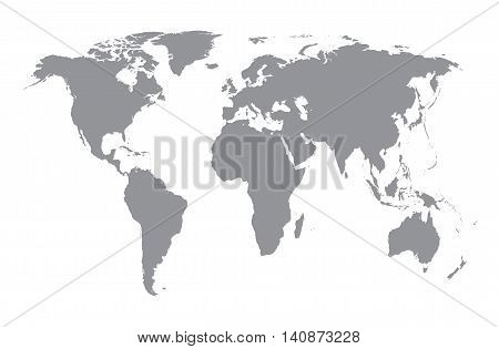 World map silhouette. Grey map on white background. Concept of travelling and worldwide business.