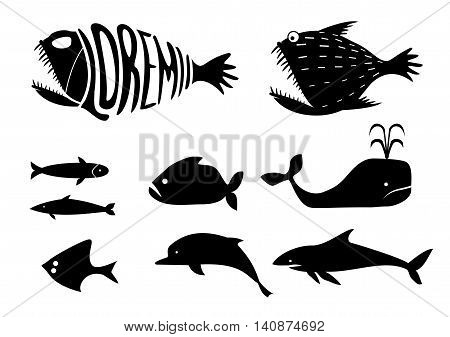 A set of silhouettes of icons and templates for logos of various marine fish - whales, sharks, sardines, dolphins and other