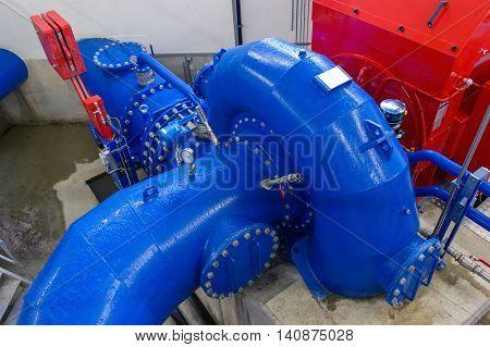 Francis hydro turbine in a small hydro power plant