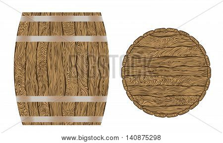 Wine or beer wooden barrel and top of barrel isolated on white