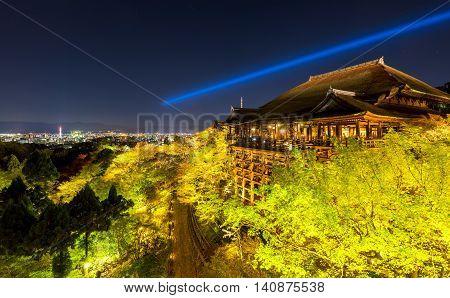 Kiyomizu dera temple in cherry blossom season Kyoto Japan