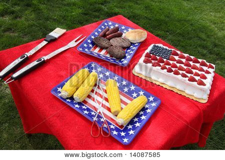 Table of food prepared for 4th of July barbecue