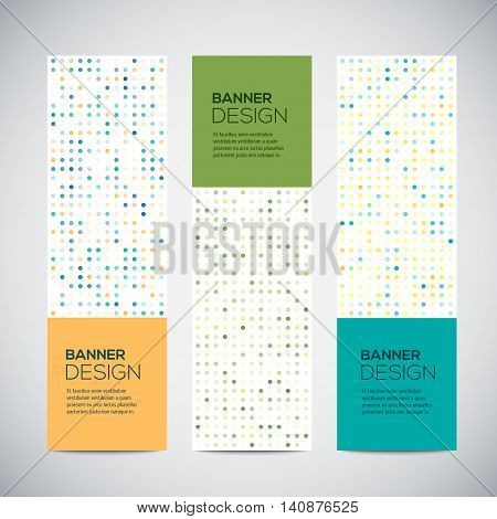Banners with abstract colorful triangulated lined geometric background, vector illustration