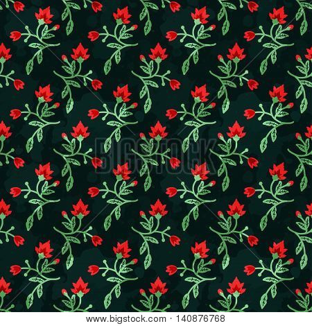 Seamless pattern with decorative red and green flowers