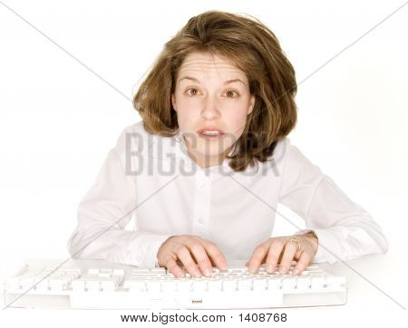 Woman Working Late