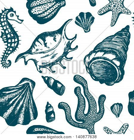 eamless pattern with blue hand drawn seashells. Marine background. Vector vintage texture with seashells coral sea horse starfish
