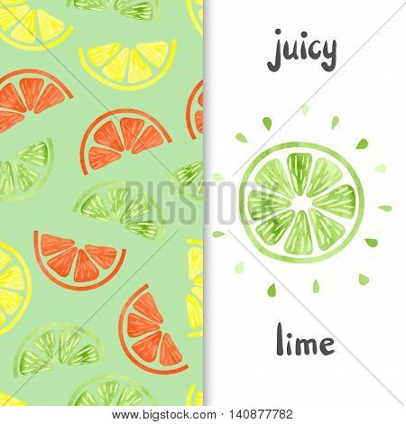 Watercolor citrus set. Lime slice isolated on white and citrus seamless pattern. Colorful vector illustration.