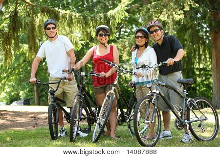 Asian family with bicycles