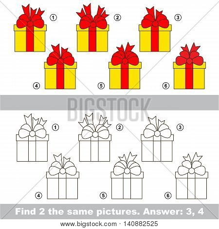 The design difference. Vector visual game for children. The easy level. Task and answer. Find two similar Gifts