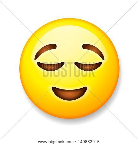 Emoji isolated on white background, emoticon relieved face, vector illustration.