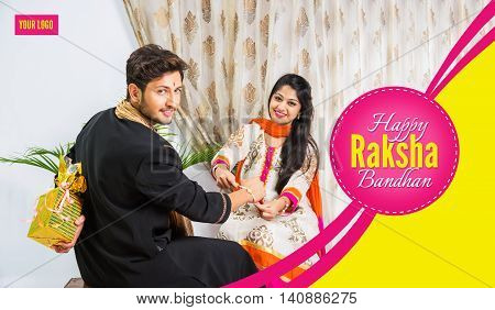 season's greeting card showing Indian young male and his sister celebrating Rakhi festival or raksha bandhanor Rakshabandhan  in traditional attire poster