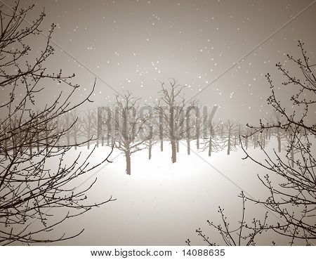 Winter scene illustration