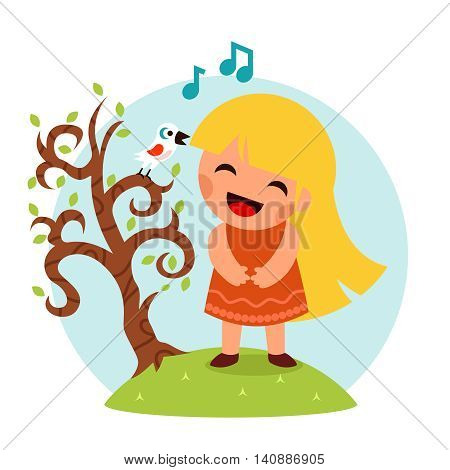 Little Happy Girl Singing with  Bird in Tree Smiling