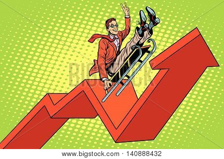 Businessman on a sled, up arrow chart sales, pop art retro vector illustration