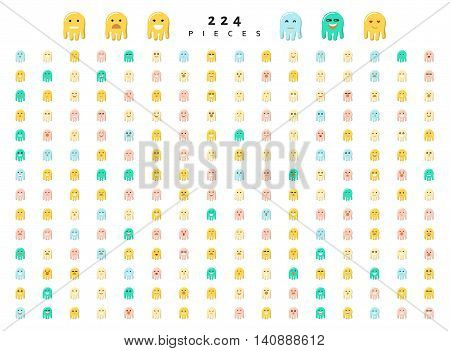 Monsters cute characters with doodle emotions, set isolated of 224 pieces sketch. Face smile, cartoon sea creatures. Design drawn icons.