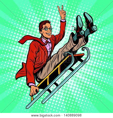 Retro man riding on a sled, pop art retro vector illustration. Winter sports, games and entertainment