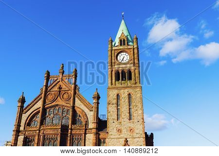 Guildhall in Derry. Derry Northern Ireland United Kingdom.