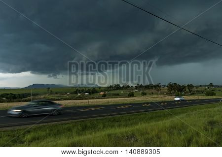 Oncoming hailstorm afternoon in South Africa Drackensberg