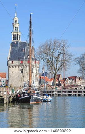 Harbor in popular Village of Hoorn at Ijsselmeer,Netherlands,Benelux