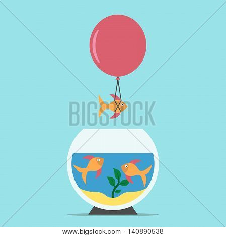 Gold fish flying away from aquarium on balloon on blue background. Courage creativity risk freedom competition and success concept. Flat design. Vector illustration. EPS 8 no transparency