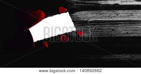 Red hearts on wooden background. Holidays card. Valentines day wedding invitation or greeting card