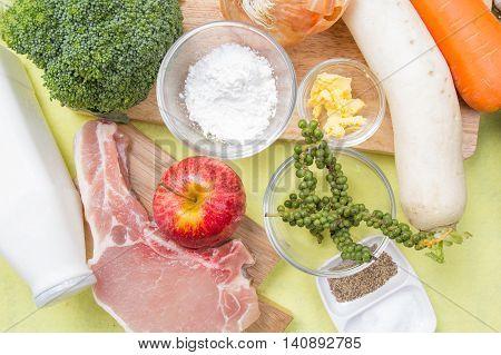Ingredient for cooking porkchop steak / cooking porkchop steak concept