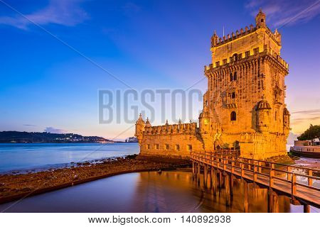 Belem Tower on the Tagus River in Lisbon, Portugal.