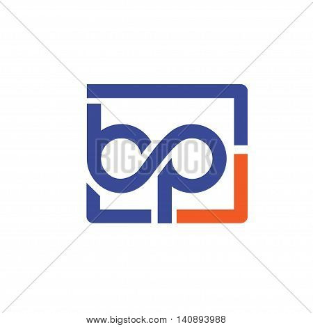 letter B and P with square bubble logo , Letter b&p logo vector