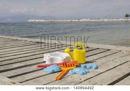 Summer children's colourful set outdoor closeup shoot