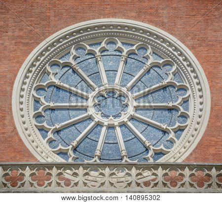 Window of neogothic Church of the Sacred Heart of Jesus