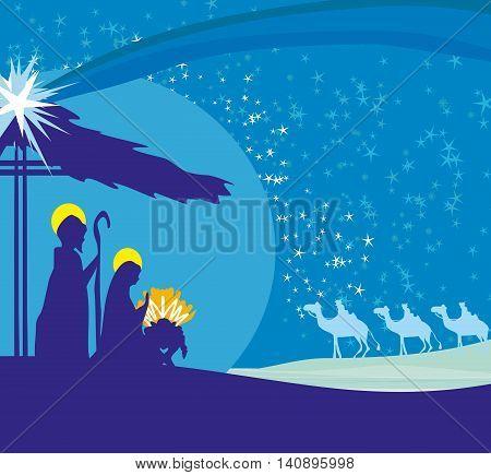 Biblical scene - birth of Jesus in Bethlehem , vector illustration