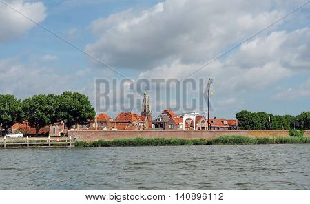 Panorama: view from IJsselmeer on Enkhuizen behind the old Sea-wall