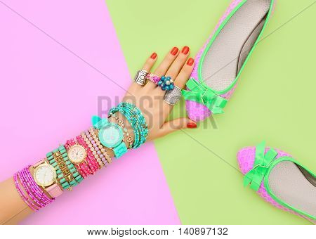 Fashion. Clothes Accessories fashion Set. Female hand Stylish Trendy ballet shoes, Glamor Wrist Watches, bracelets. Summer fashion girl Outfit, accessories. Hipster Essentials.