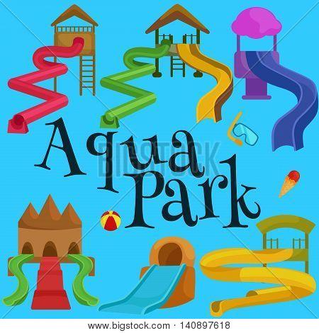 Plastic slides for water park on a white background vector illustration pictograms