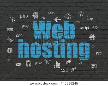 Web design concept: Painted blue text Web Hosting on Black Brick wall background with  Hand Drawn Site Development Icons