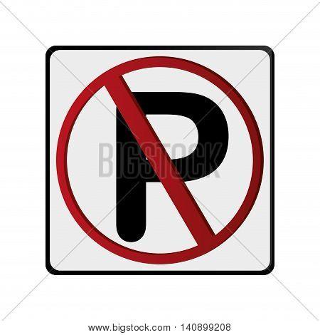 flat design no parking traffic sign icon vector illustration