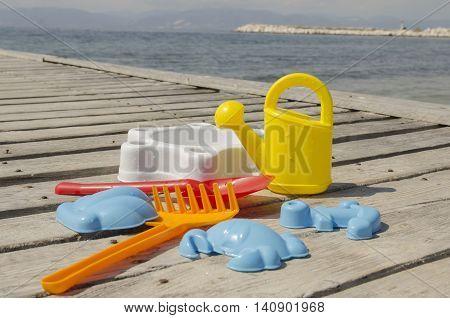Children's toys colourful set outdoor closeup shot