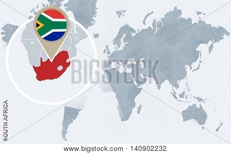 Abstract Blue World Map With Magnified South Africa.